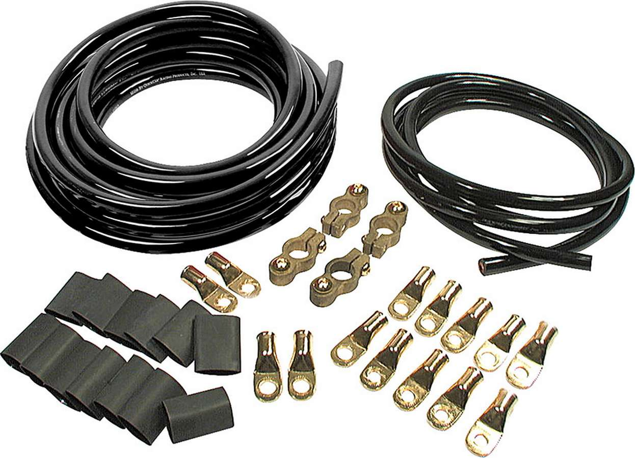 Allstar Battery Cable Kit 2 Gauge 2 Batteries, All Black Cables