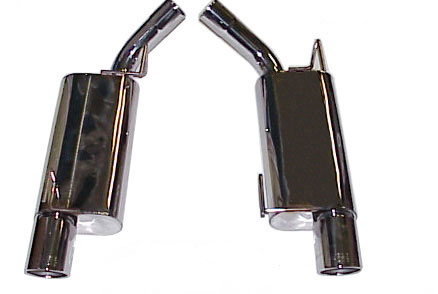 Bassani Quiet Thunder Axle Back, 2005-09 Mustang GT, 4 rolled tips