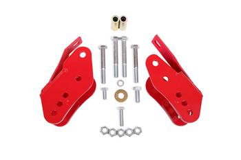 BMR Control Arm Relocation Brackets, Bolt-on, red, 2005-14 Mustang