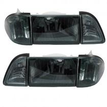 Euro Smoked Headlights, 6 piece kit, 87-93 Mustang