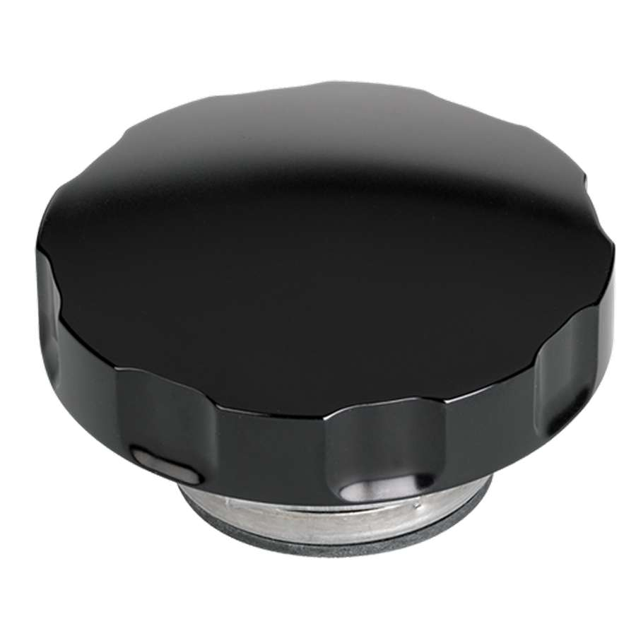 Billet Specialties Radiator cap, 16lb, notched grip black anodized