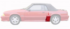1987-93 GT Front Of Quarter Body Moldings LH With Side Scoop Groud Effect