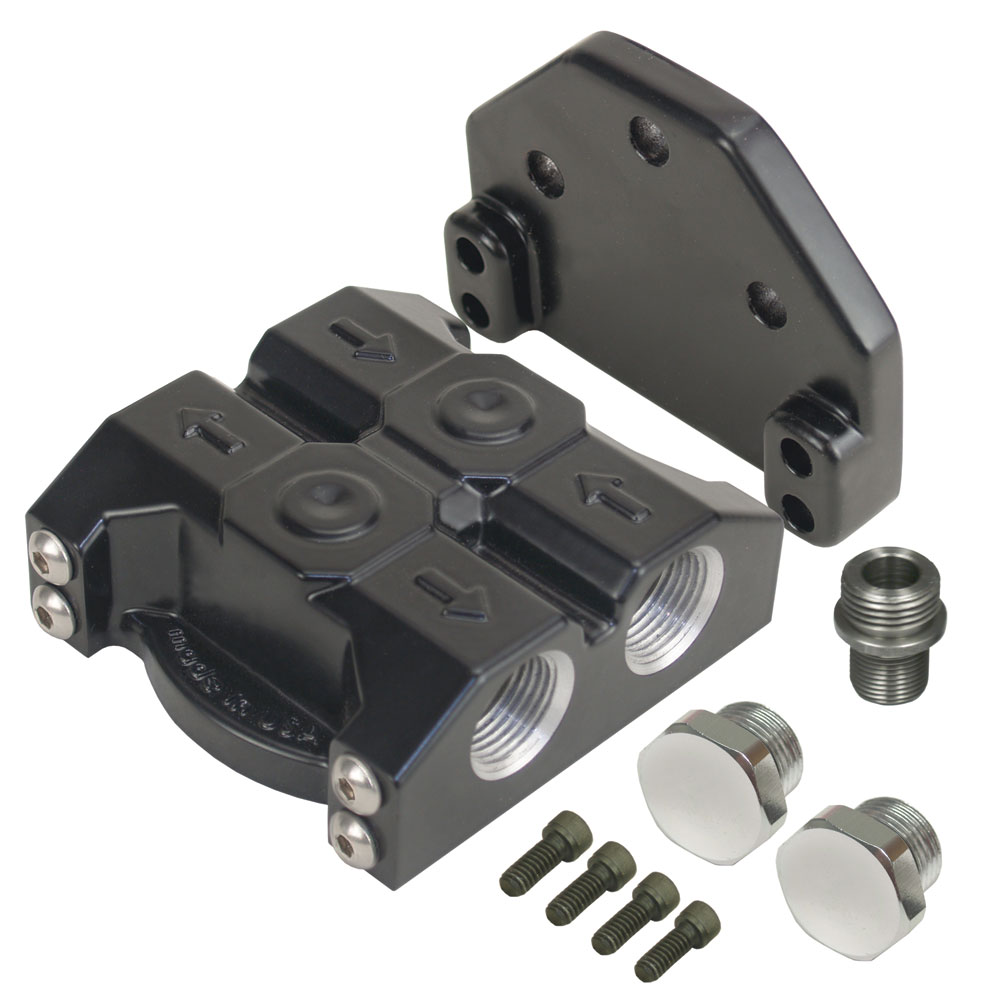 Deraile Remote oil filter mount, dual side ports, 3/4-16 thread