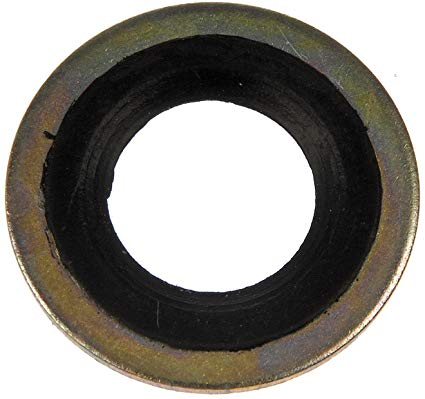 Oil pan drain plug seal, steel with rubber, 5.0 Mustang
