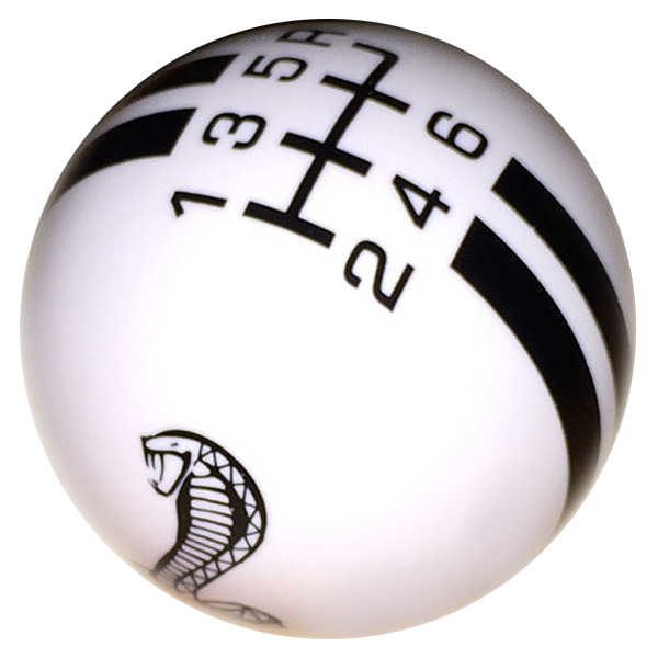 Rally Billard Style Shift Knob, Cobra Snake, White w/Black, GT500