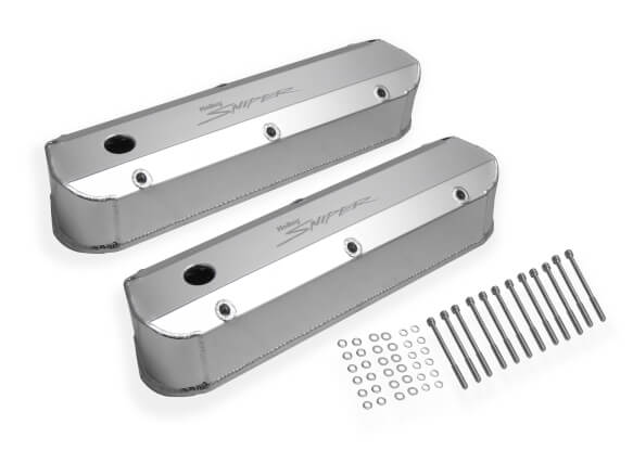 Holley Sniper Fabricated valvecovers, silver aluminum tall, 5.0 / 302