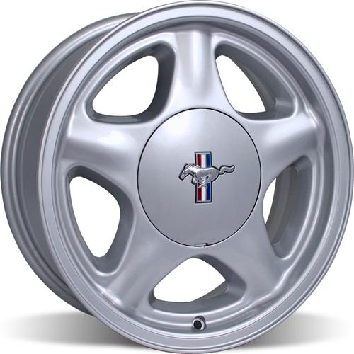 Mustang Pony wheel, 17x9 4 bolt, silver with center cap, 79-93 Mustang