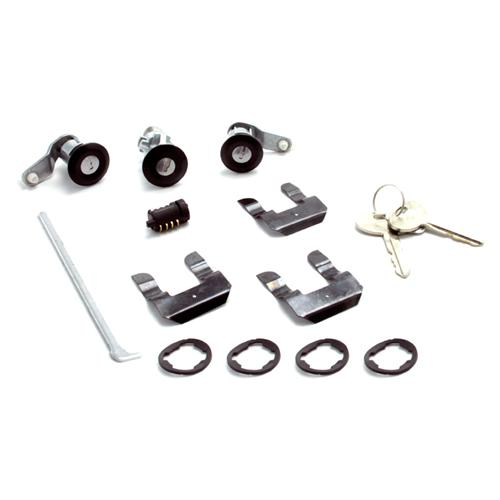 LRS Door and hatch lock kit, black, 87-93 Mustang