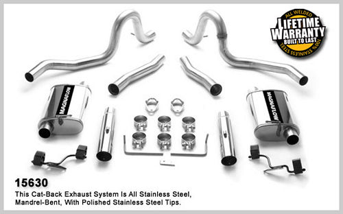 Magnaflow 2.5 Exhaust, 3 SS Tips, 1979-93 Mustang LX