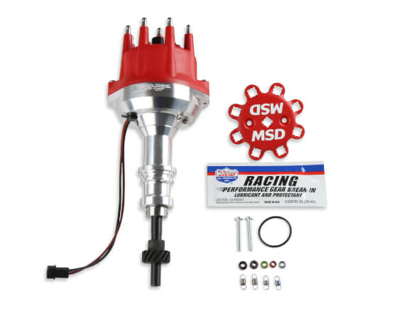 MSD Distributor Ford 302, Pro Billet, Small Red Cap, Steel Gear