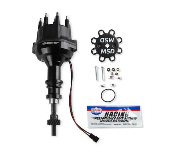 MSD Distributor Ford 302, Pro Billet, Small Cap, All Black, Steel Gear