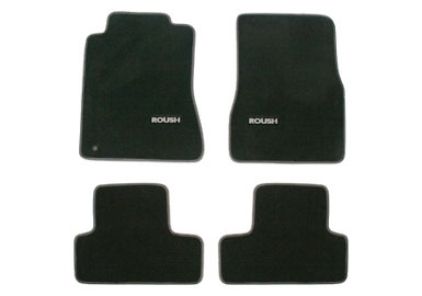 Roush Floor Mat Set, Front and Rear, Black with Grey, 2005-2009 Mustang
