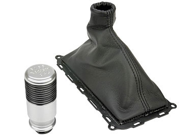 Roush Shift Knob w/ Boot, Billet Aluminum w/ Grips, 6 Speed, Mustang, 2011-2013