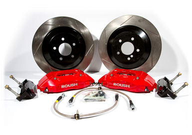 Roush Brake Kit, Front, Red 4 Piston, 1pc Rotors, 2005-2013 Mustang 4.6/5.0L