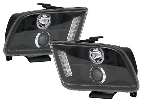 Projector LED Halo black headlights, 2005-2009 Mustang