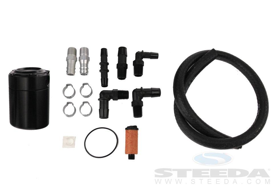 Steeda Mustang Oil Separator, Black, No Logo, 1979+ Mustang, 2015+ Mustang