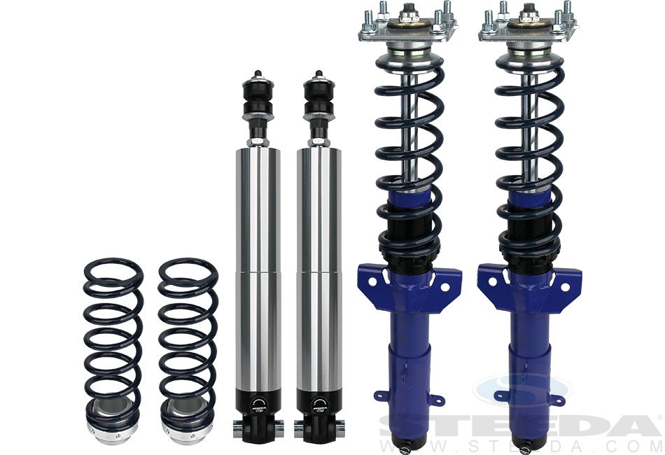 Steeda Coilover suspension kit w/ springs, Stage 1/2/3, 2005-14 Mustang, GT500