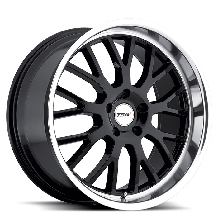TSW Tremblant 18x9.5, black w/mirror lip, 5x4.5 20ET