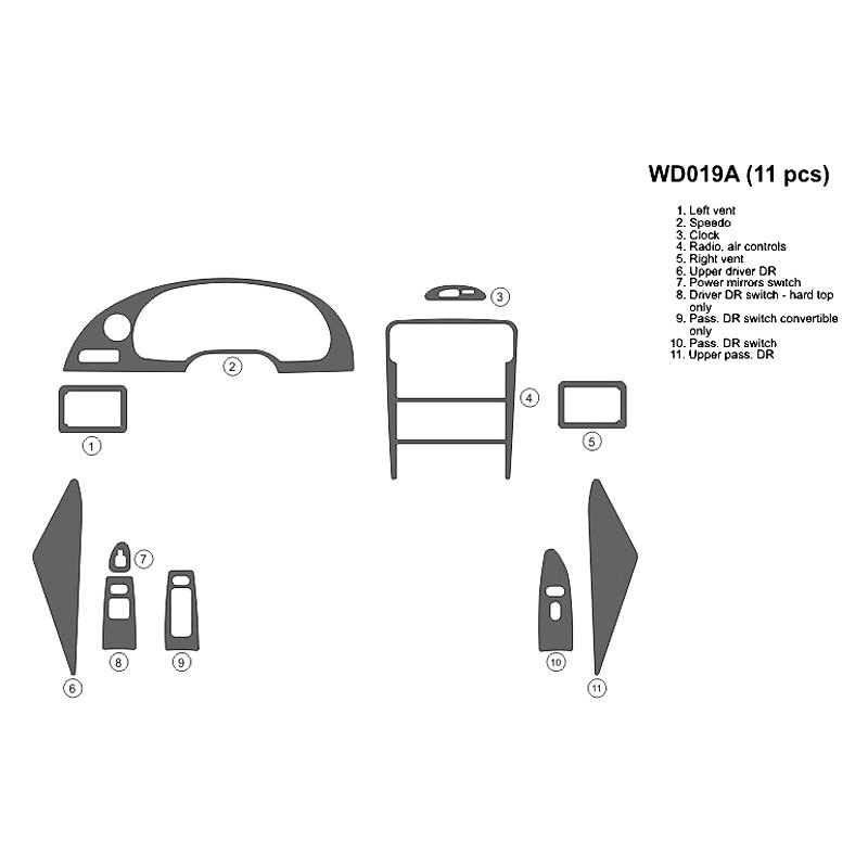 99-02 Mustang GT Stainless look dash kit, flat 11 pce