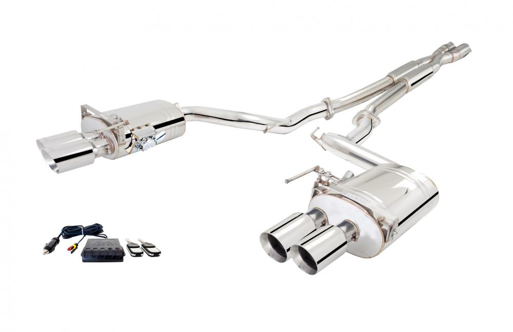 Xforce 2.5 Cat-Back Exhaust, Varex Mufflers, 2018-2019 Mustang GT Quadtip